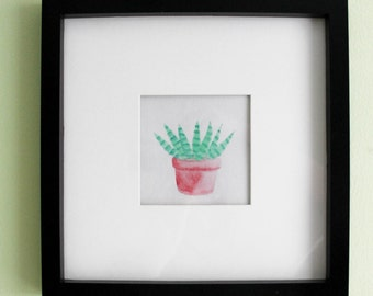 Potted Cactus Watercolor Painting