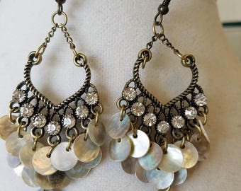 Bronze and Iridescent Shell Chandelier Earrings