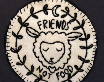 Vegan embroidered patch/diy/denim/customised/embroidery/sewing/vegetarian