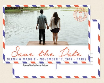 Air Mail Photo Save the Date Postcard Magnet - Vintage Travel Destination Affordable Cheap Save the Date