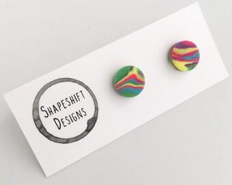 Handmade polymer clay marbled rainbow stud earrings