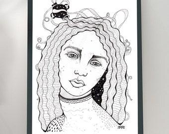 Aquarius Woman Portrait Zodiac Sign A4 A5 capricorn portrait, illustration, illustration, zodiac sign, print, zodiac portrait, horoscope