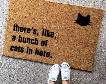 "THE ORIGINAL ""bunch of cats in here™"" doormat - cat lover - funny doormats - cat lady - housewarming gift - cheeky doormat"