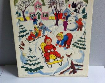 1950's Playskool Tray Puzzles, Golden Press Inc, Americana jigsaws, Farm, barnyard, beach, toys, snow scene.