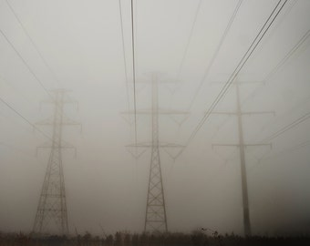 Powerlines in Fog Photograph,  Industrial,  Prints and Canvas available, Home Decor, Art, Large Art,