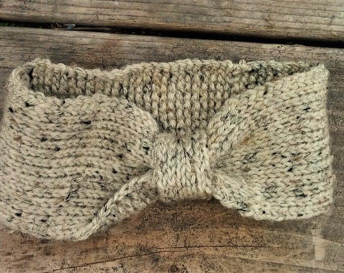 Cream Tweed Winter Earwarmer
