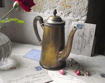 French Antique solid Brass Art Nouveau/Jugendstil coffee or tea pot, vintage.