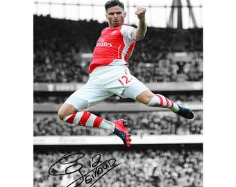 Olivier Giroud pre signed photo print poster - 12x8 inches (30cm x 20cm) - Superb quality - N.0 2
