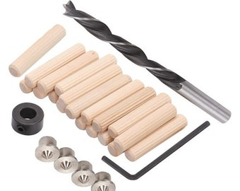 "Doweling Accessories Tool Kit 5/16"" doweling pins drill bit doweling centers woodworking kit"