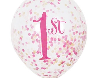 Pink 1st Birthday Balloons x 6, Confetti Balloons, Girls 1st Birthday Party, Pink Birthday Party Decor