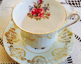 Paragon pale green teacup and saucer.