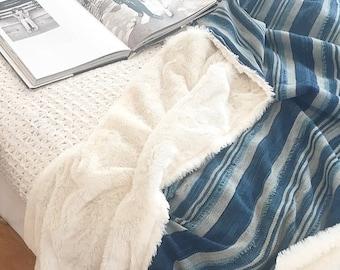 Indigo Mudcloth Throw Blanket - Baby Blanket - with Faux Fur