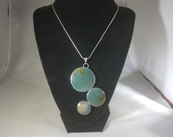 Large Blue Green Picture Jasper Multi Cabochon Floating Bubbles Pendant Set in Silver