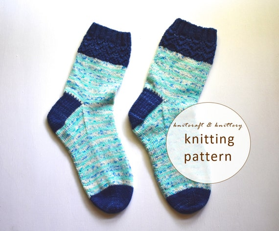 Sock Knitting Pattern For Beginners : Striped Lacy Socks Knitting Pattern // Sock Knitting Pattern