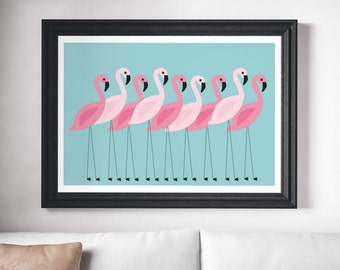 Flamingo Wall Art Prints Minimalist Wall Decor Flamingo Print Minimalist Modern Art Scandinavian Print Wall Prints Minimalist Art Print