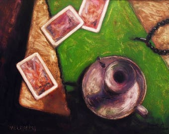 oil painting // still life of playing cards and candleholder // artistic work of art // hand-painted contemporary impressionism art