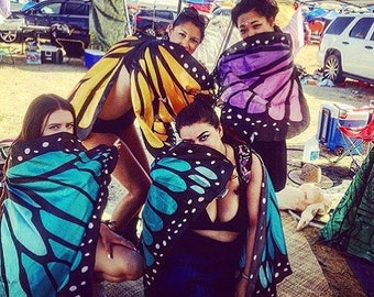 Adult size stunning festival coachella style butterfly wings, orange, blue, purple and multi colored monarch style