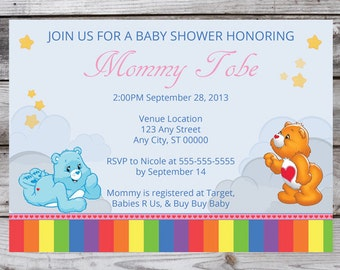 Care Bear Baby Shower Invitation