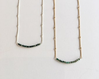 Tiny Bead Bar Necklace Green African Turquoise 14k Gold Fill or Sterling Silver Beaded Chain Dainty Modern Bohemian Minimalist