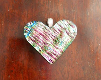 Vintage Dichroic Glass Heart Pendant, Pink & Green, on Silver Plated Bail
