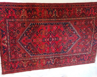 Vintage large hand made pure wool Persian rug red and blue