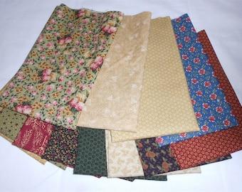 Thimbleberry/Thimbleberries Fat Quarter Bundle 12pc. -Circle of Love fabrics/green/red/purple/cream/rust/floral/green/blue (#0134)