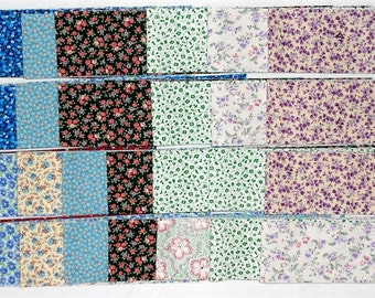"Jelly Roll -40ct. Precut 2.5"" strips/tiny floral/flowers/vines/calico/blue/green/lavender/pink/red/yellow/purple/brown/beige/tan (#JR7)"
