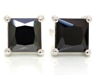 Princess 925 Silver Black Earrings, Moonstone Princess Black Stud, 925 Silver Stud, Black Princess Earring, Black Square Gem, Black Gift Box