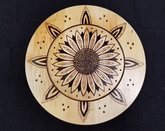 Flower Plate Wall Hanging Wood Burned