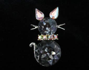Smokey Rhinestone Cat Brooch