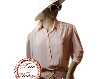 TRUE VINTAGE romantic delicate chiffon silk optics blouse 3/4 sleeve apricot size 42