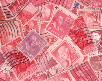 30 Rose Colored Vintage Postage Stamps-Used