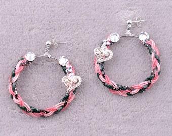Colorful hoop earrings (pink)