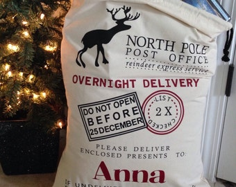 "Christmas Santa sack, 20""x27""personalized with child's name, Santa gift bag"