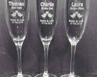 Personalised Wedding Bridal Party Champagne Flutes
