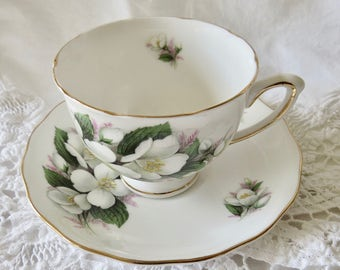 Royal Vale Bone China Teacup and Saucer White Flowers Gold Trim
