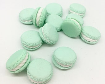 6 Mint Green Pastel Macaroon Cabochons 3D Polymer Clay Kawaii Decoden Sweets Desserts