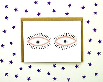 Googly eye greetings card with moving eyes! Great for friends and family with a taste for the unusual and fun. Printed on RECYCLED card!