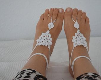 Barefoot sandals, Barefootsandal, bracelets - white