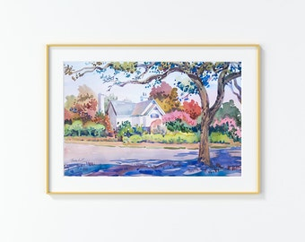 Original Watercolor Painting,Watercolor Painting,landscape,San Antonio,La Jara Blvd