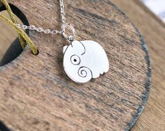 Silver elephant pendant, Silver jewelry, Sterling silver pendant, Animal pendant, animal jewelry, Little elephant