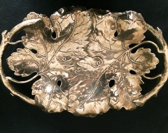 Wonderfully detailed solid brass tray / dish embellshed with a vine pattern