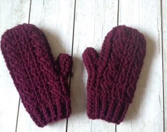 Crochet Mittens - Adult Mittens - Burgundy Mittens - Winter Mittens - Winter Accessories