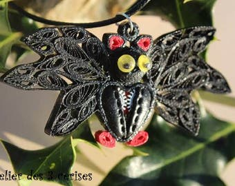Necklace black and Red bat in fimo steampunk quilling