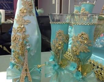 Brindis de quinceañera toasting set for quinceanera