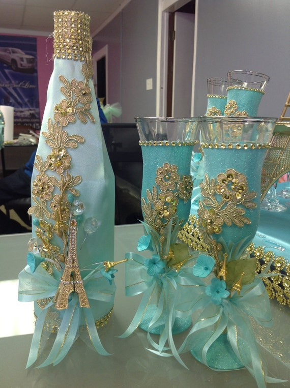 Brindis de quinceaera toasting set for quinceanera