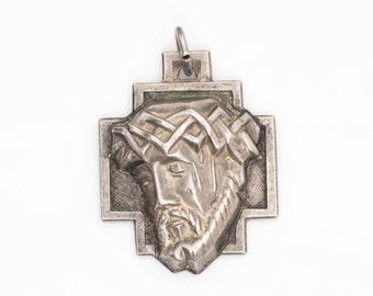 """Christian """"Jesus"""" Vintage Sterling Silver Pendant, VJ #739"""