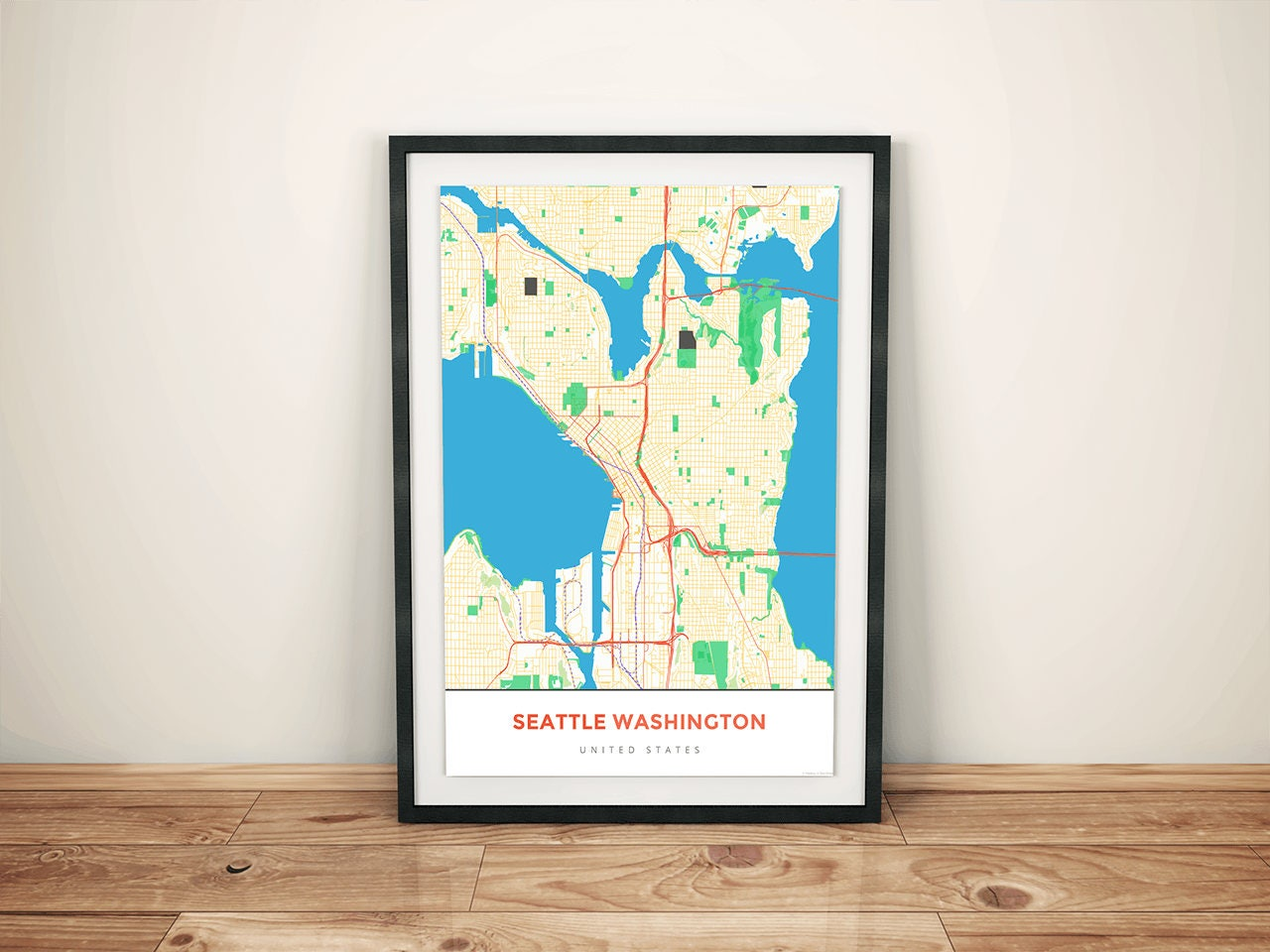 Premium Map Print of Seattle Washington Simple Colorful