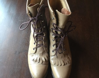 Vintage lace-up leather Justin roper boots