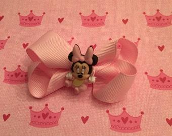 Babby Minnie Mouse charm on hair bow